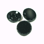 Glass Button - Cut & Polished Top Round 18MM JET