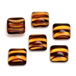 Glass Low Dome Cabochon - Square Antique 10x10MM TORTOISE