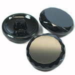 Glass Button - Cut & Polished Top Round 27MM JET