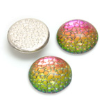 Glass Medium Dome Snakeskin Mosaic Cabochon - Round 18MM HELIO RED