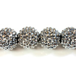 Acrylic Rhinestone Bead with 2MM Hole Resin Base - 20MM HEMATITE