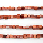 Man-made Bead - Cube Smooth 06x6MM BROWN GOLDSTONE