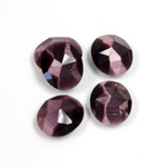 Fiber-Optic Flat Back Cabochon - Rauten Rose Oval 12x10MM CAT'S EYE PURPLE