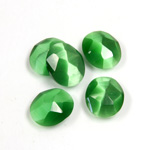 Fiber-Optic Flat Back Cabochon - Rauten Rose Oval 12x10MM CAT'S EYE GREEN