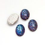 Glass Medium Dome Snakeskin Mosaic Cabochon - Oval 14x10MM HELIO BLUE