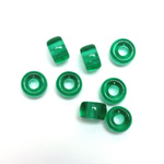 Czech Pressed Glass Roller Bead - Smooth Pony 09x6MM EMERALD
