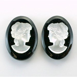 German Plastic Cameo - Woman Oval 25x18MM MATTE CRYSTAL ON JET