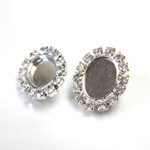 Czech Rhinestone Button - Oval 22x18MM CRYSTAL-SILVER