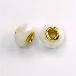 Glass Faceted Bead with Large Hole Gold Plated Center - Round 14x9MM CHALKWHITE
