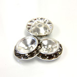 Czech Rhinestone Rondelle Shrag Rivoli Back Setting - Round 15MM outside with 10.5mm (ss47) Recess BLACK DIAMOND-SILVER
