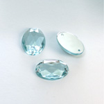Plastic Flat Back 2-Hole Foiled Sew-On Stone - Oval 18x13MM LT AQUA