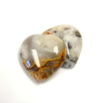 Gemstone Cabochon - Heart 25MM MEXICAN CRAZY LACE