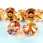 Chinese Cut Crystal Bead Button - Foiled Round 20MM FIRE OPAL
