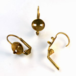Brass Earwire 17MM Leverback with 2 Prong Pad with no Loop