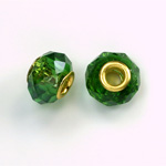 Glass Faceted Bead with Large Hole Gold Plated Center - Round 14x9MM EMERALD