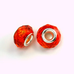 Glass Faceted Bead with Large Hole Silver Plated Center - Round 14x9MM HYACINTH
