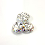 Czech Rhinestone Rondelle Shrag Rivoli Back Setting - Round 12MM outside w 08mm (ss38) Recess CRYSTAL AB-SILVER