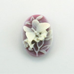 Plastic Cameo - Butterfly Oval 25x18MM WHITE ON AMETHYST FS