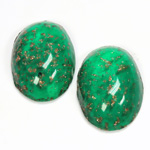 Glass Medium Dome Lampwork Cabochon - Oval 25x18MM GOLD FLECK EMERALD (05053)