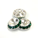 Czech Rhinestone Rondelle Shrag Rivoli Back Setting - Round 15MM outside with 10.5mm (ss47) Recess EMERALD-SILVER