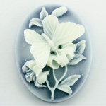 Plastic Cameo - Butterfly Oval 40x30MM WHITE ON ROYAL BLUE FS