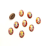 Glass Medium Dome Foiled Cabochon - Coated Oval 06x4MM TOPAZ AB