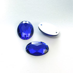 Plastic Flat Back 2-Hole Foiled Sew-On Stone - Oval 18x13MM COBALT
