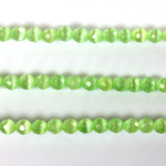 Fiber Optic Synthetic Cat's Eye Bead-  Round Faceted 04MM CAT'S EYE LT GREEN