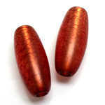 Plastic Bead - Bronze Lined Veggie Color Smooth Oval 34x15MM MATTE RED