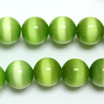 Fiber-Optic Synthetic Bead - Cat's Eye Smooth Round 12MM CAT'S EYE LT GREEN