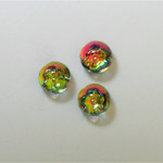 Glass Flat Back 3/4 Ball with Flower - 08MM IRIDIS