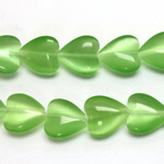 Fiber-Optic Synthetic Bead - Cat's Eye Smooth Lentil Heart 12MM CAT'S EYE LT GREEN