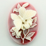 Plastic Cameo - Butterfly Oval 40x30MM WHITE ON RUBY FS