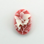 Plastic Cameo - Butterfly Oval 25x18MM WHITE ON RUBY FS