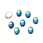 Glass Medium Dome Foiled Cabochon - Coated Oval 07x5MM BERMUDA BLUE