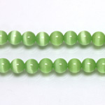 Fiber-Optic Synthetic Bead - Cat's Eye Smooth Round 06MM CAT'S EYE LT GREEN