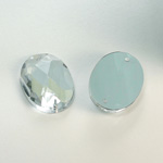 Plastic Flat Back 2-Hole Foiled Sew-On Stone - Oval 25x18MM CRYSTAL