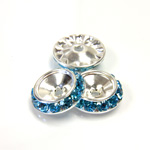 Czech Rhinestone Rondelle Shrag Rivoli Back Setting - Round 15MM outside with 10.5mm (ss47) Recess AQUA-SILVER