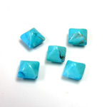 Gemstone Cabochon - Square Pyramid Top 06x6MM HOWLITE DYED CHINESE TURQ