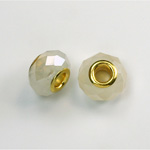 Glass Faceted Bead with Large Hole Gold Plated Center - Round 14x9MM OPAL WHITE