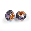 Glass Faceted Bead with Large Hole Copper Plated Center - Round 14x9MM VIOLET