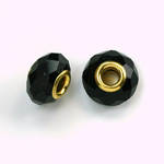 Glass Faceted Bead with Large Hole Gold Plated Center - Round 14x9MM JET