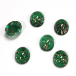 Glass Medium Dome Lampwork Cabochon - Oval 10x8MM GOLD FLECK EMERALD (05053)