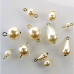 Glass Pearls with Brass Loops