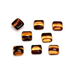 Glass Low Dome Cabochon - Square Antique 06x6MM TORTOISE