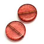Plastic Bead - Bronze Lined Veggie Color Smooth Flat Round 22MM MATTE RED
