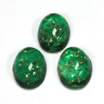 Glass Medium Dome Lampwork Cabochon - Oval 18x13MM GOLD FLECK EMERALD (05053)