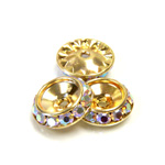 Czech Rhinestone Rondelle Shrag Rivoli Back Setting - Round 15MM outside with 10.5mm (ss47) Recess CRYSTAL AB-GOLD