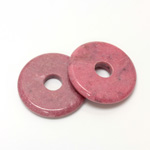 Gemstone Bead - Donut Round Smooth 40MM RHODONITE