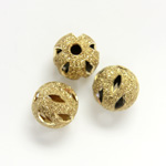Brass Bead - Lead Safe Engraved & Pierced - Round 08MM RAW Unplated